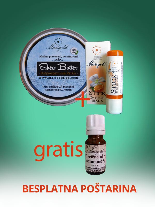 AKCIJA: Nerafinisani Shea Butter i stik + eterično ulje pomorandže