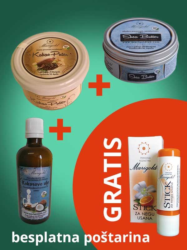 AKCIJA: Kokosovo ulje, Kakao puter, Shea butter nerafinisani + Stik za negu usana